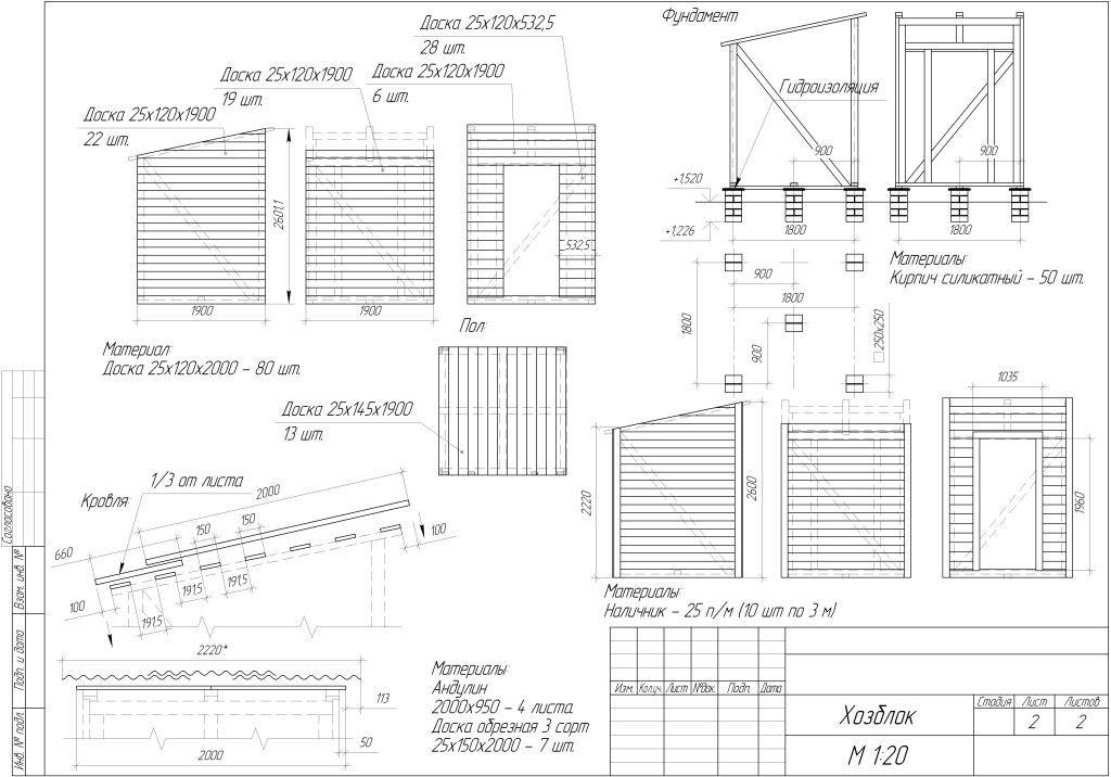 Как построить хозблок своими руками чертежи