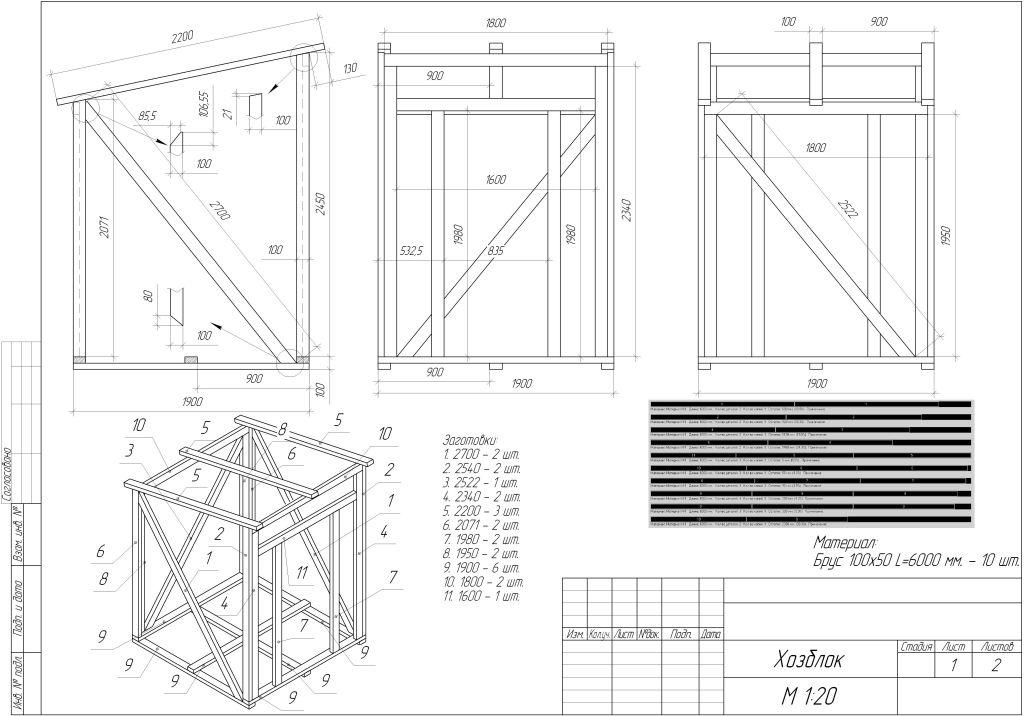 Как построить туалет с хозблоком на даче своими руками размеры чертежи 100